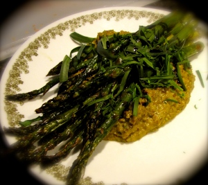Roasted Asparagus with Pistachio Puree © 2013, Juniper Stokes