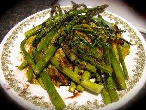 How we actually at the dish--I just piled all the asparagus on in a big messy heap! haha
